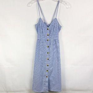 ! H&M Divided | Seersucker Button Down Midi Dress